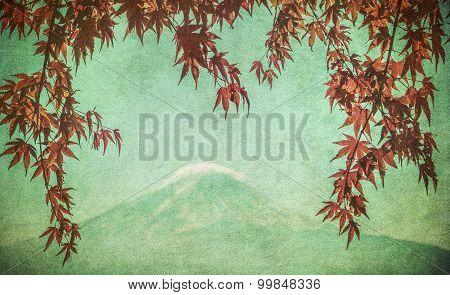 Retro Image Of Mount Fuji And Autumn Maple Leaves