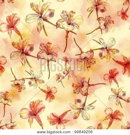 Seamless watercolor flowers (alstroemerias) background pattern