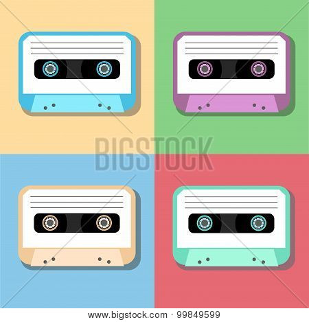 old vintage audio tapes icon