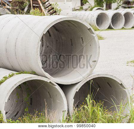 Deposit Of Prefabricated Concrete Rings