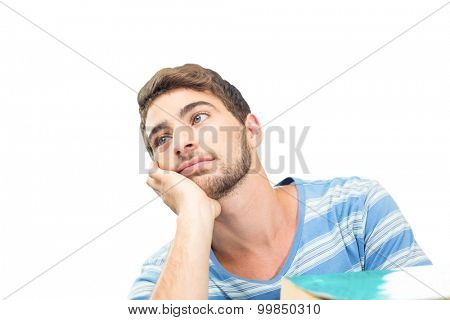 Student daydreaming against white background with vignette