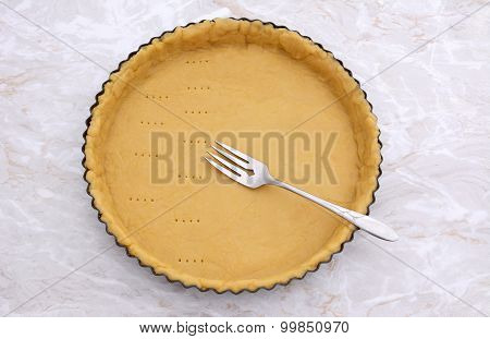 Pricking Shortcrust Pastry Case With A Metal Fork