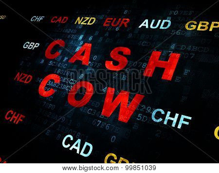 Business concept: Cash Cow on Digital background