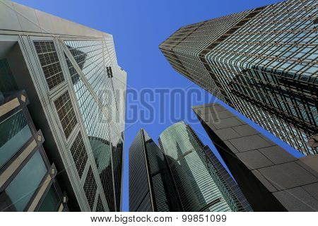 Skyscrapers In The Financial District Of Hong Kong Island, China