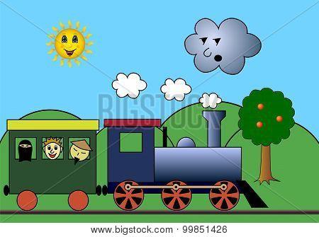 Steam Train On Road