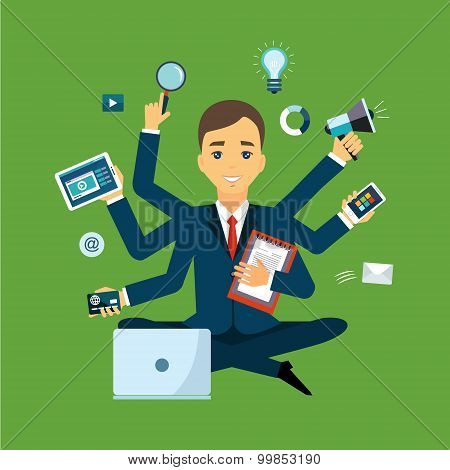 Businessman with multitasking and multi skill. Keep calm. Business concept. Flat style