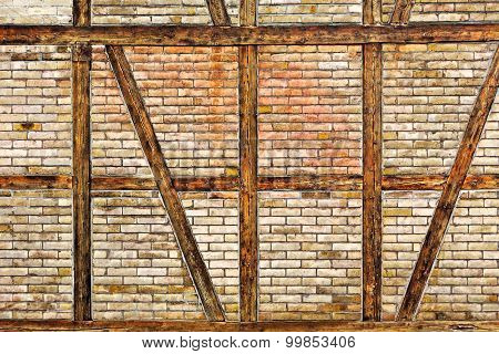 Brick Wall Of The Half Timbered House
