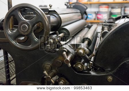 The Fragment Of Old Machine In Printing House