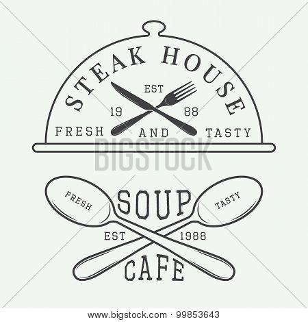 Set Of Vintage Cafe And Steak House Logo, Badge And Emblem With Spoons, Forks And Knifes