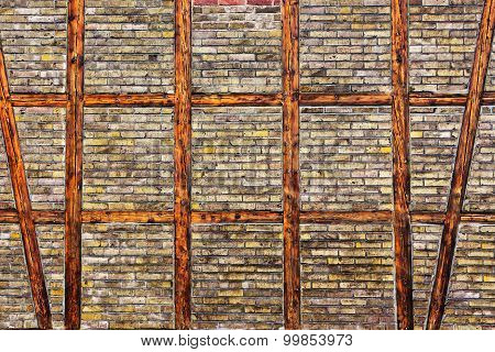 The Brick Wall Of  Half Timbered House