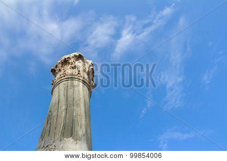 Detail of standing damaged Corinthian order column at ancient Agora on Greek Kos island