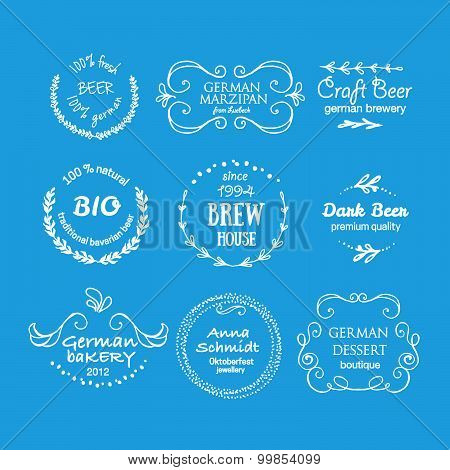 Vector Collection Of Oktoberfest Hand Drawn Logo Templates