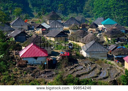 A village with traditional houses of Hani ethnic minority people in Laocai, Vietnam