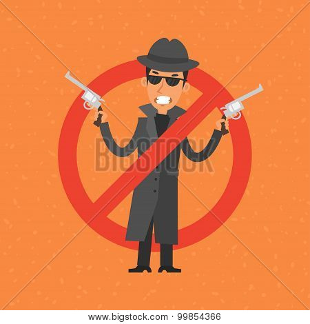 Angry gangster holding gun