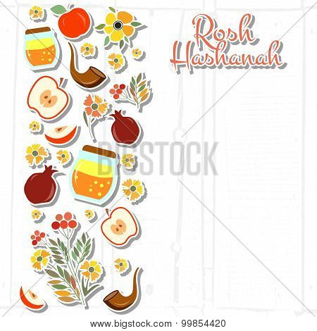 Collection Of Labels And Elements For Rosh Hashanah (jewish New Year)