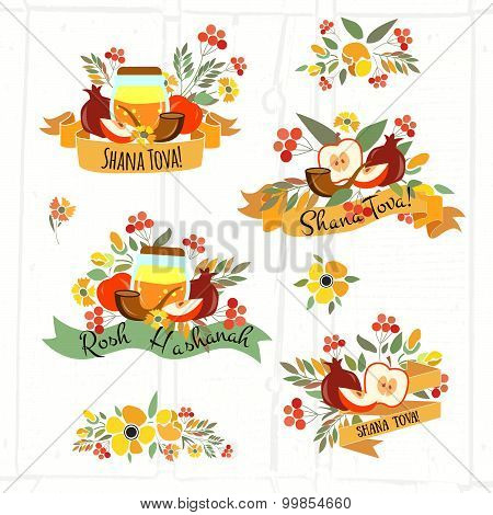 Ollection Of Labels And Elements For Rosh Hashanah (jewish New Year)