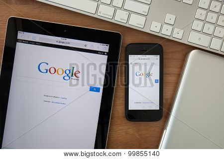 Chiangmai,thailand - February 10, 2015:  Google Search Page On Screen Of Ipad And Iphone. In Decembe