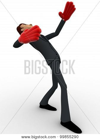 3D Man Falling On Back With Red Hand Boxing Gloves Concept