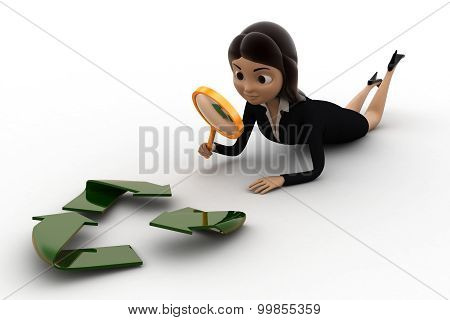 3D Woman Examine Recycle Icon Concept
