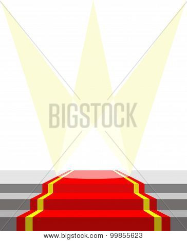 Red Carpet For Vip Persons, And Lighting. Vector Illustration Does Not Contain Transparency Effects