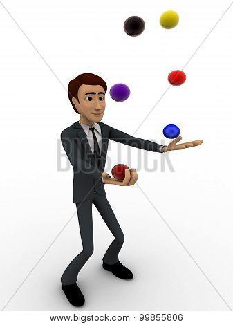 3D Man Juggle Colourful Ball Concept