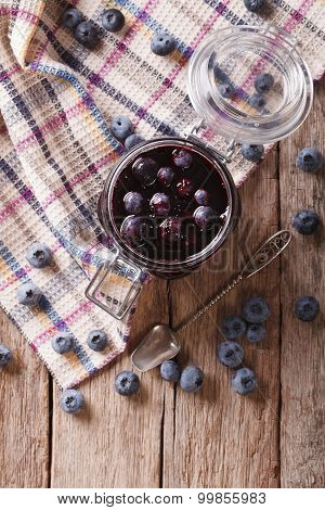 Fresh Blueberry Marmalade In A Glass Jar. Vertical Top View