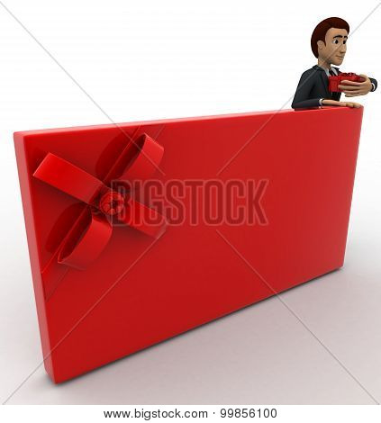3D Man With Red Ribbon Mail Concept
