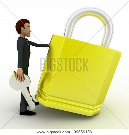 3D Man With Big Lock And Key Concept