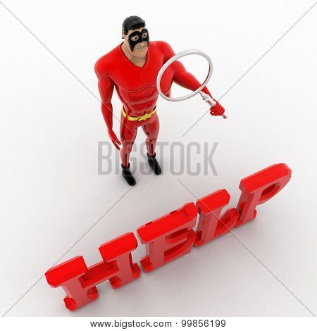 3D Superhero Search For Help Using Magnifying Glass Concept