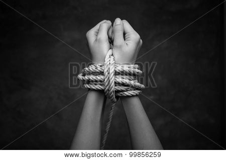 Hands Of A Missing Kidnapped, Abused, Hostage, Victim Woman T