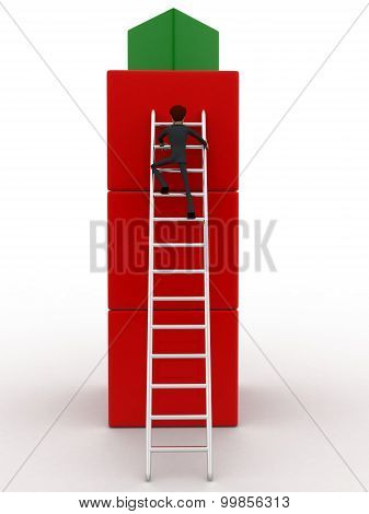 3D Man Climb On Building Of Cubes Using Ladder Concept