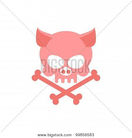 Pig Skull With Bones. Head Skeleton Of  Pig. Logo For Halloween. Pink Skull Farm Animal