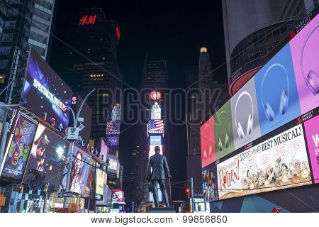 Times Square, featured with Broadway Theaters and animated LED signs, New York City, USA