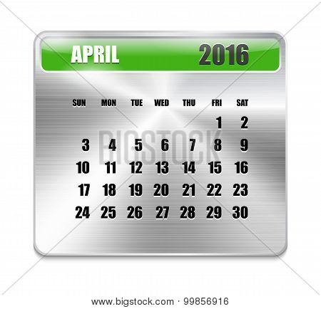 Monthly Calendar For April 2016 On Metallic Plate Color