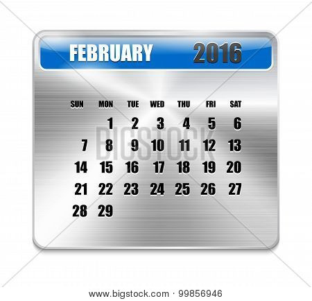 Monthly Calendar For February 2016 On Metallic Plate Color