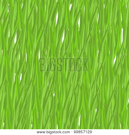 Green Grass Seamless Pattern. Vector Background Natural Greenery. Lawn Texture