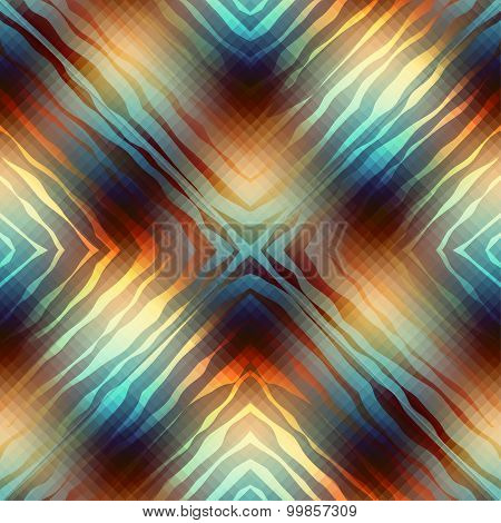 Diagonal geometric pattern with wavy elements.