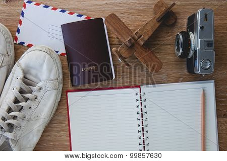 Outfit Of Traveler, Different Objects On Wooden Background.