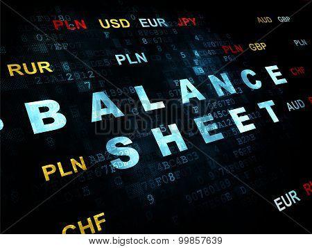 Banking concept: Balance Sheet on Digital background
