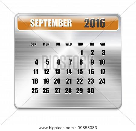 Monthly Calendar For September 2016 On Metallic Plate Color