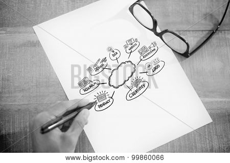 Left hand writing on white page on working desk against business ideas