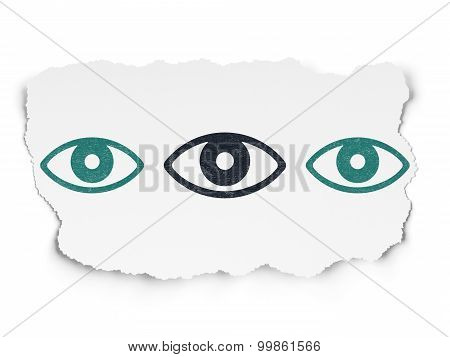 Security concept: eye icon on Torn Paper background