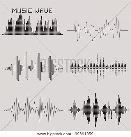 Sound waves set. Music icons. Audio equalizer technology. Vector illustration