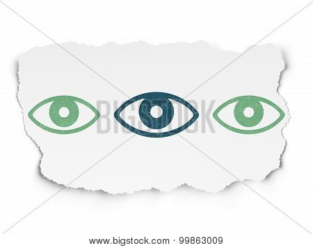Privacy concept: eye icon on Torn Paper background