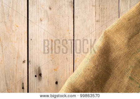 Wooden boards and burlap sack
