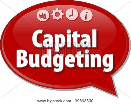 Speech bubble dialog illustration of business term saying Capital Budgeting
