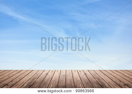 Wooden Floor And Sky Background