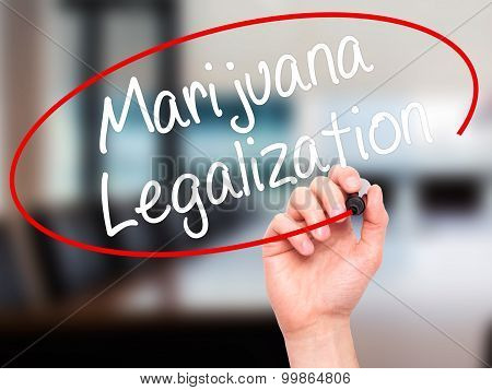 Man Hand writing Marijuana Legalization with black marker on visual screen.