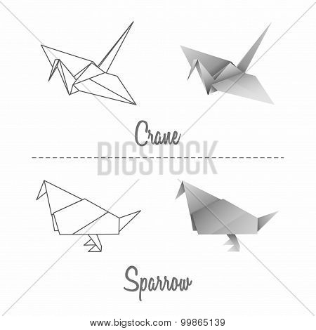 Set Of Vector Japanese Paper Origami Birds - Crane And Sparrow