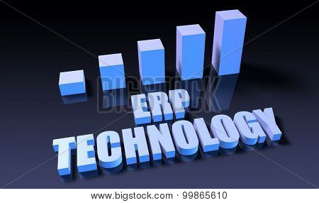 Erp technology graph chart in 3d on blue and black